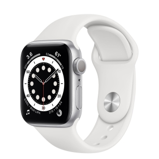 Apple Watch Series 6 40mm Silver Aluminum Case with White Sport Band