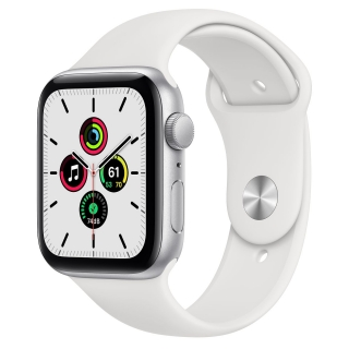 Apple Watch Series SE 44mm Silver with White Sport Band